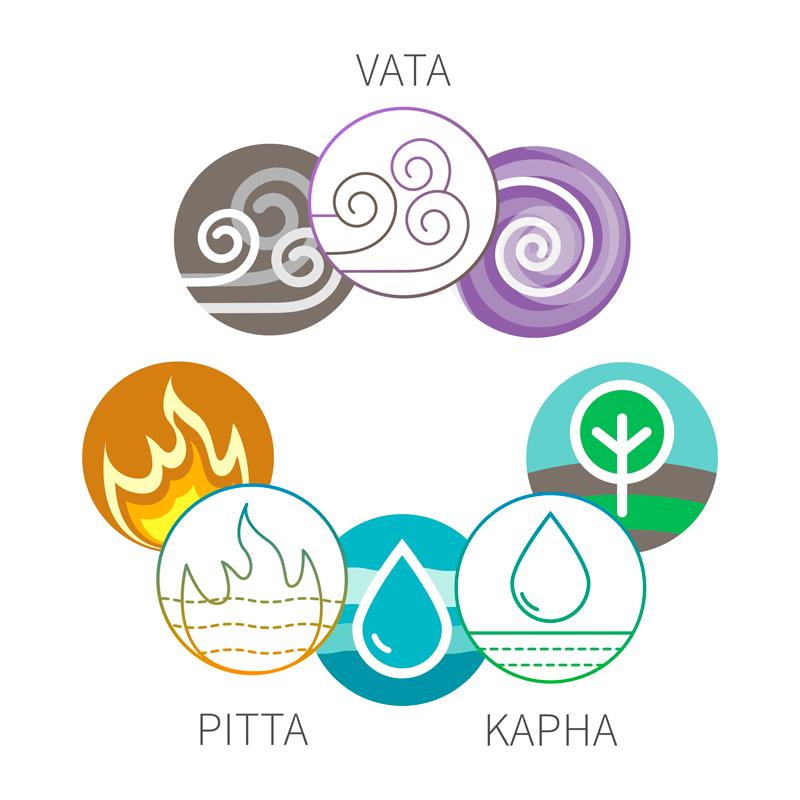 Diagram of the dosas (Vata, Pitta and Kapha)